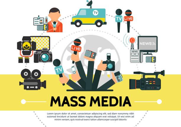 illustrations, cliparts, dessins animés et icônes de plat mass media concept - interview