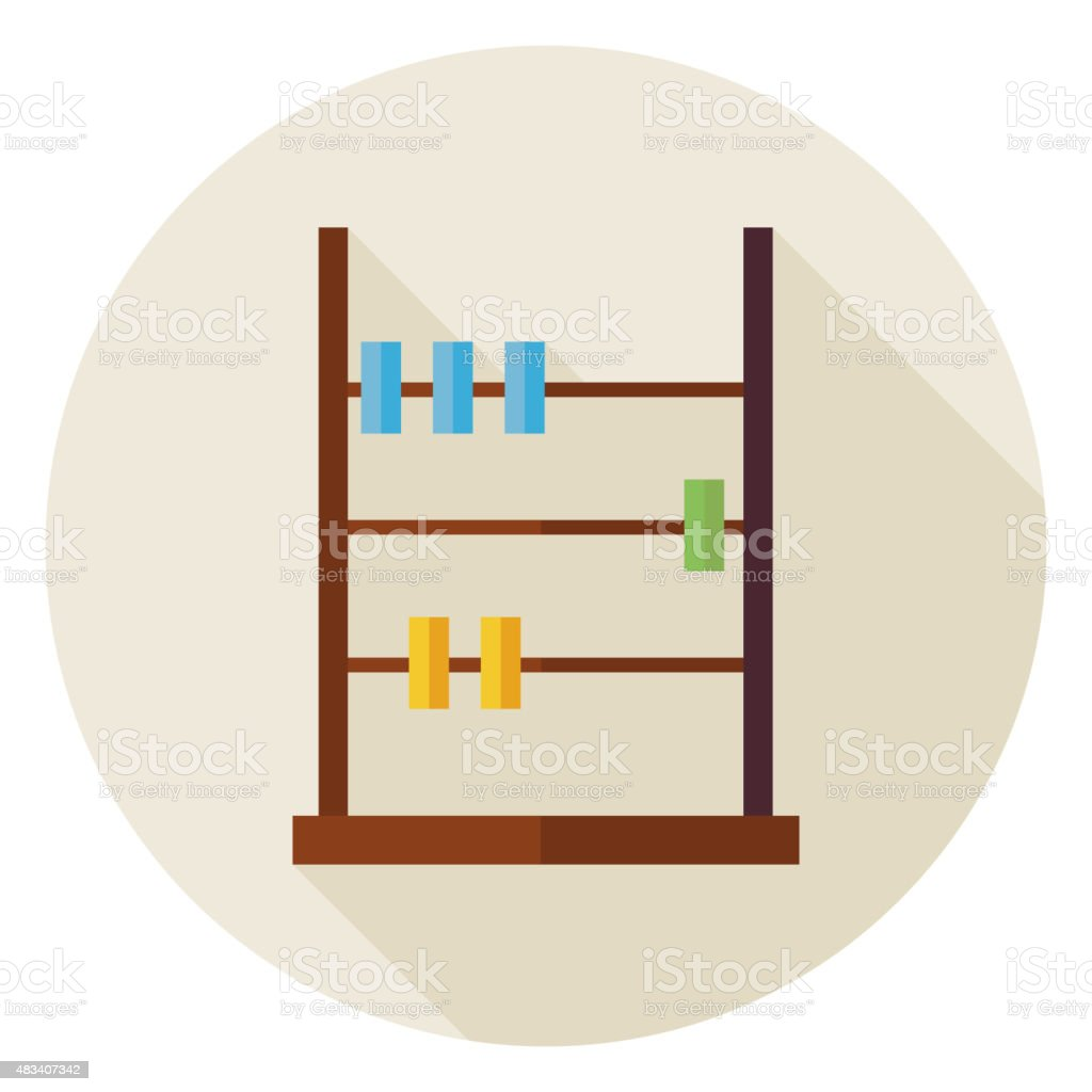 Flat Math Counter Abacus Circle Icon with Long Shadow vector art illustration