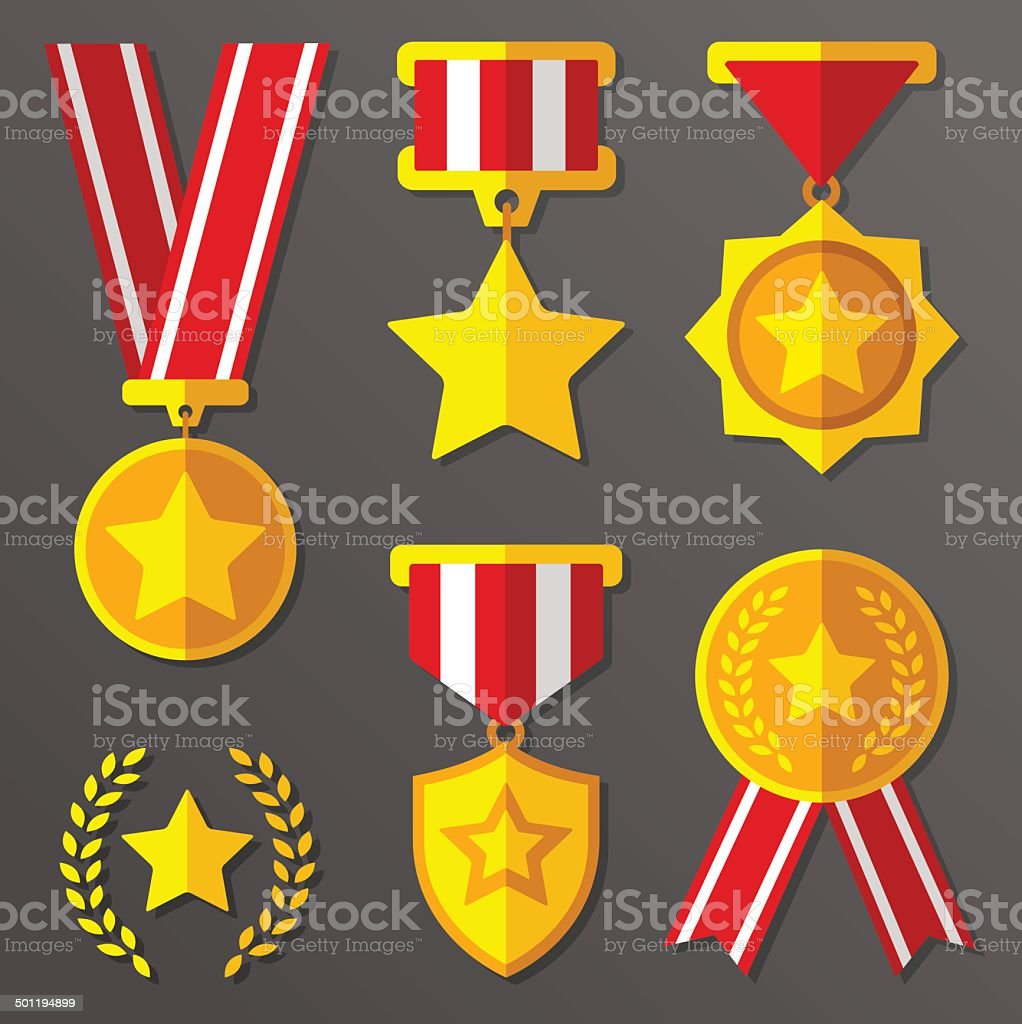 Flat medals and awards set with stars icon royalty-free stock vector art