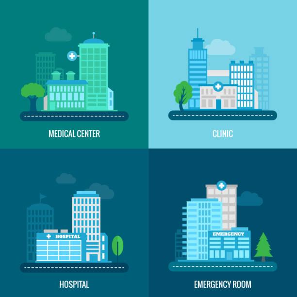 平面醫療大樓 - 診所 幅插畫檔、美工圖案、卡通及圖標