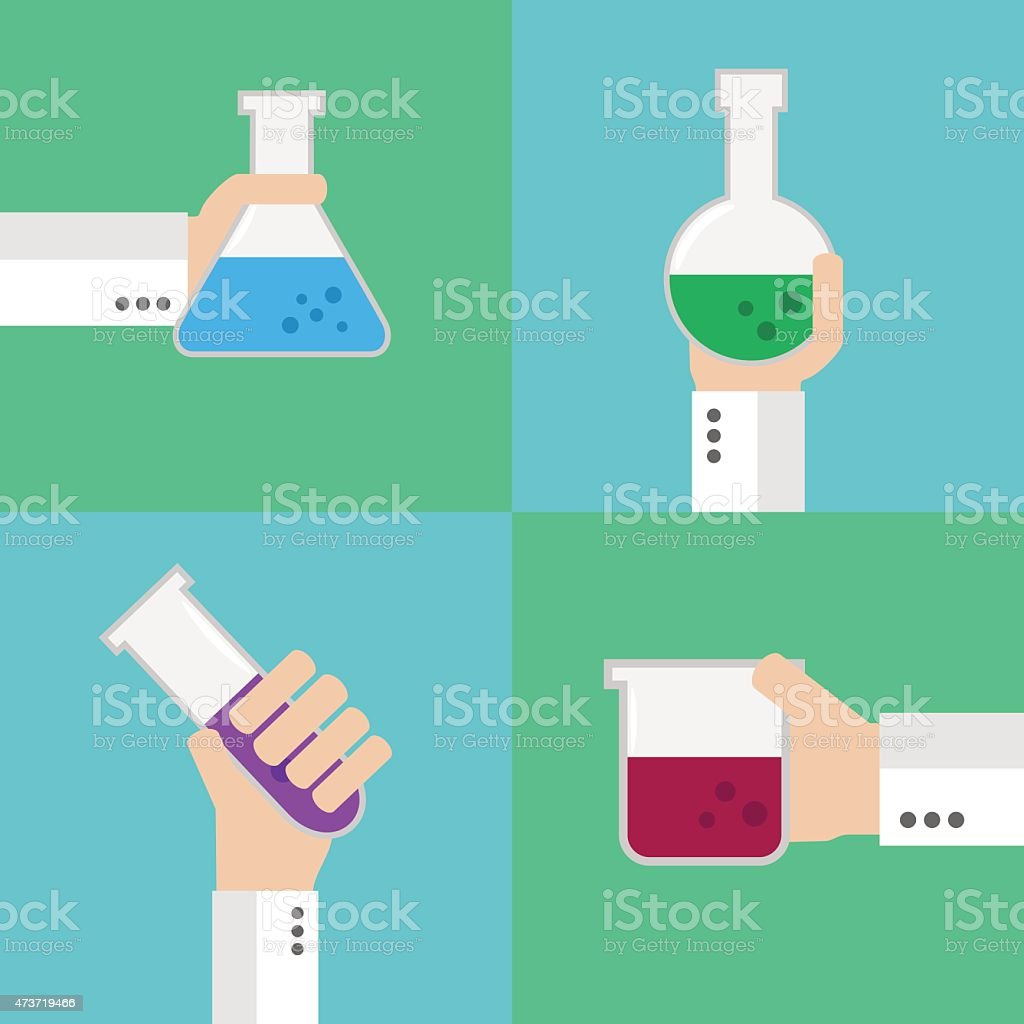 Flat medical flask set vector art illustration