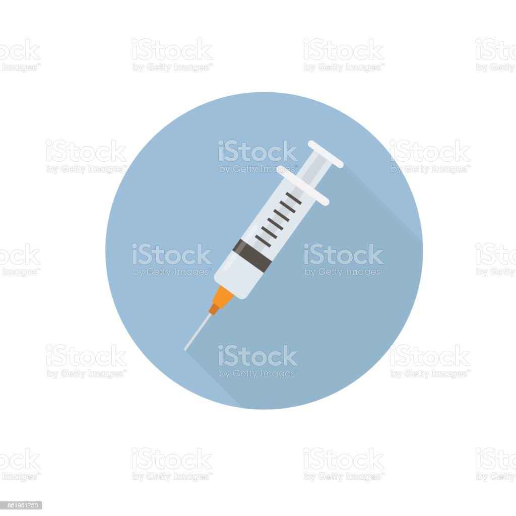 Flat medical syringe icon with long shadow. Health care concept vector art illustration