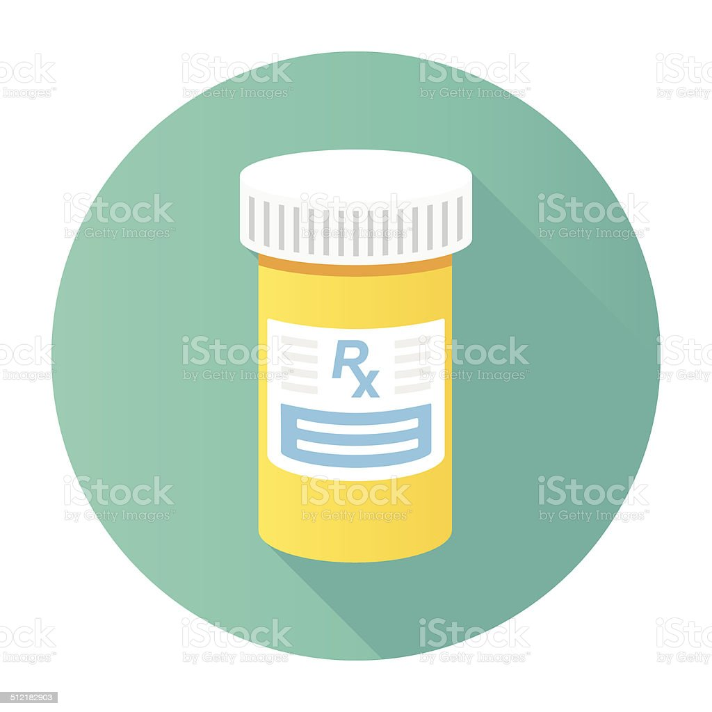 Flat Medicine Bottle Icon vector art illustration