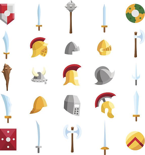 Flat medieval icons 2 vector art illustration
