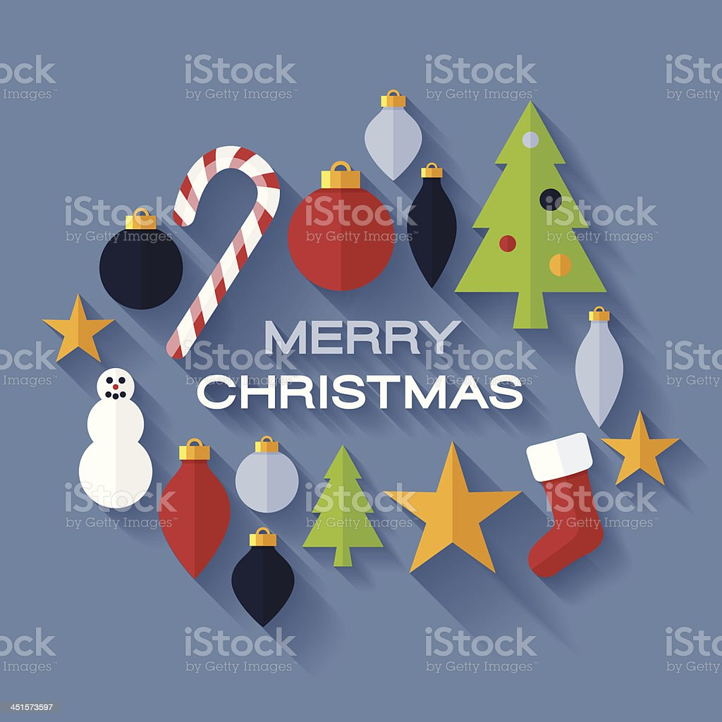Flat Merry Christmas royalty-free stock vector art