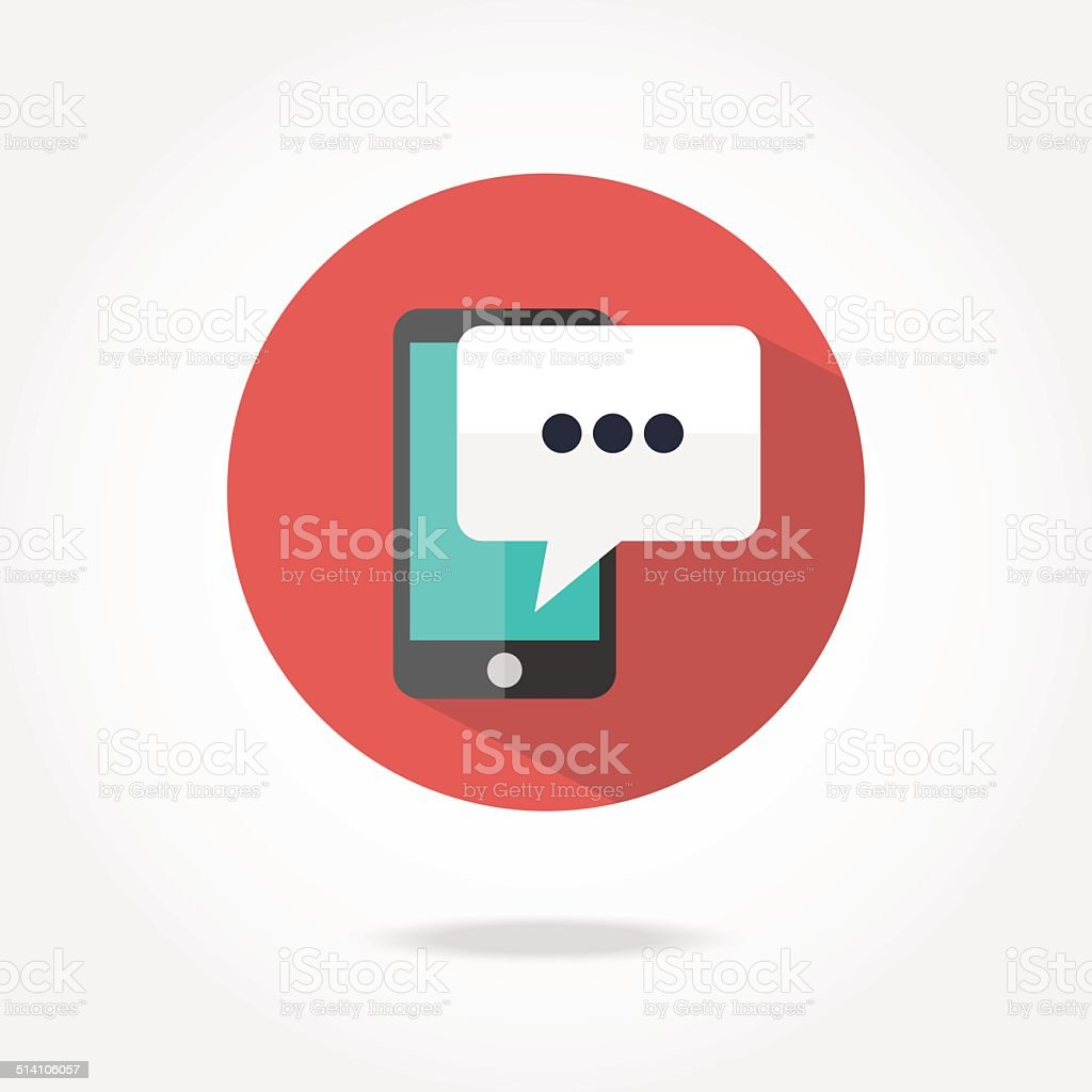 Flat message icon. vector art illustration