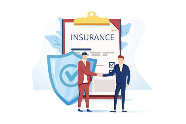 flat metaphor poster presenting insurance services. cartoon male customer and agent shaking hands over huge safe contract - insurance stock illustrations
