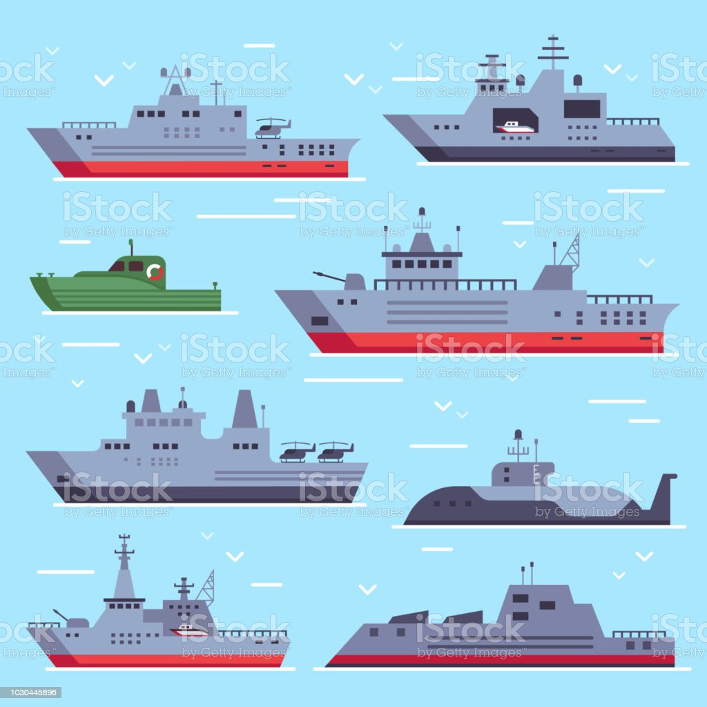 Flat military boats. Navy battle ships, sea combat security boat and battleship weapon. Naval warship vector collection vector art illustration