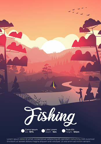 Flat minimal fishing poster with pine forest, and mountains at sunset