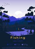 Flat minimal fishing poster with pine forest, and mountains