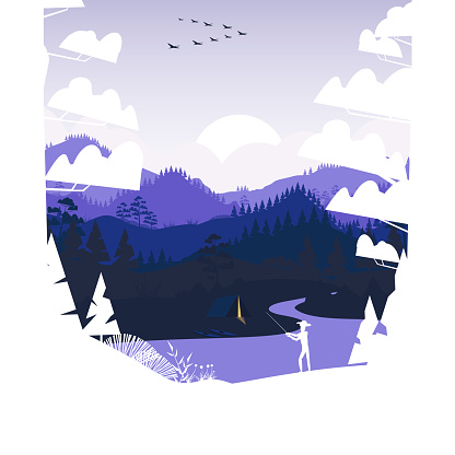 Flat minimal fishing scene in the mountains with pine forest and summer camp