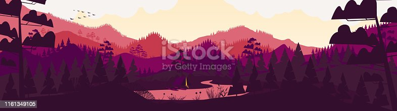 Flat minimal forest mountain landscape panorama