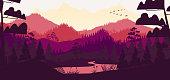 Flat minimal forest mountain landscape
