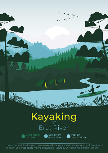 Flat minimal kayaking poster with pine forest, and mountains;
