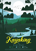 Flat minimal kayaking poster with pine forest, and mountains