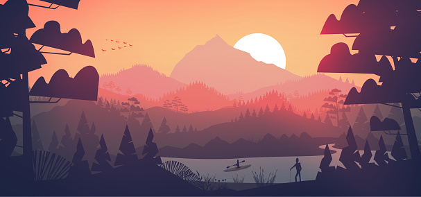 Flat minimal lake with pine forest, and mountains at sunset