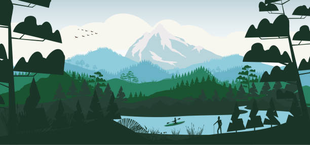 ilustrações, clipart, desenhos animados e ícones de lago mínimo liso com floresta do pinho, e montanhas - atividades ao ar livre
