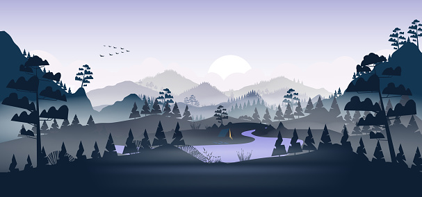 Flat minimal lake with pine forest, and mountains