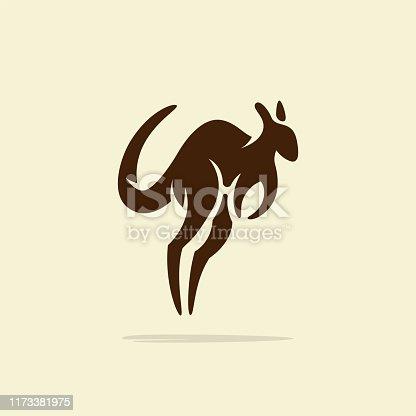 Flat minimalist Kangaroo symbol design template, retro or vintage feel