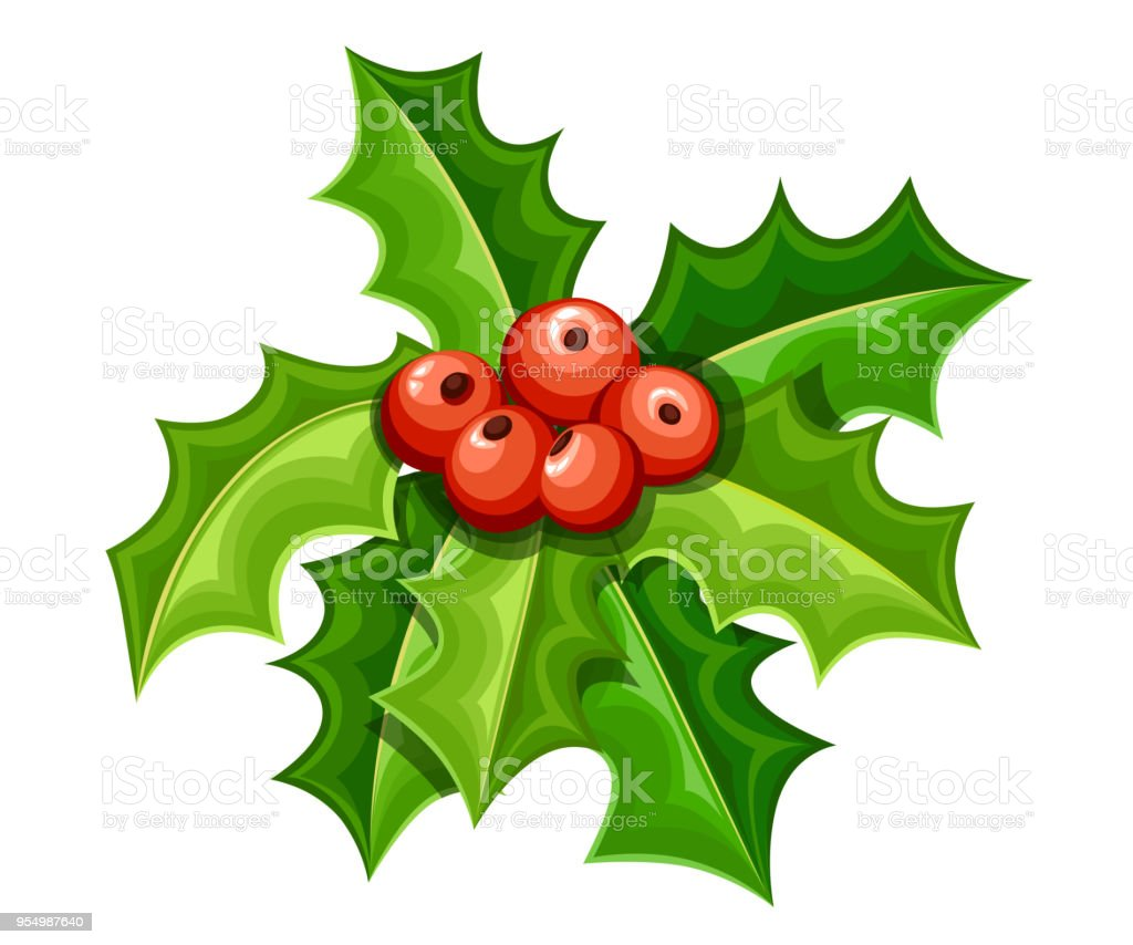 flat mistletoe decorative red berries and green leaves christmas ornament vector illustration isolated - Mistletoe Christmas Decoration