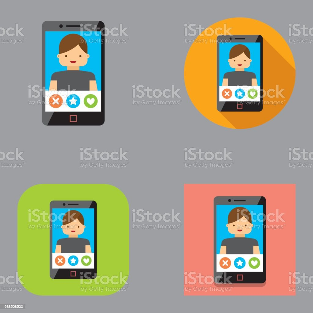Flat Mobile Dating icons (Male) | Kalaful series vector art illustration