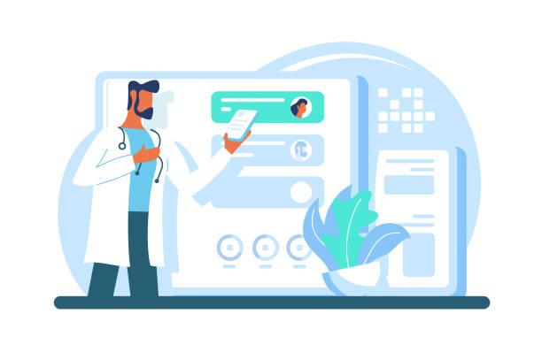 扁平的現代成人醫生, 有鬍子, 平板電腦, 有工作中的應用程式。 - 診所 幅插畫檔、美工圖案、卡通及圖標