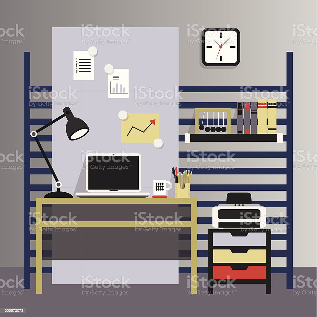 Flat, modern, and stylish interior working place vector art illustration