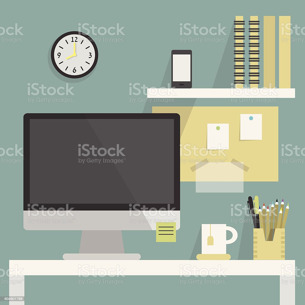 Flat, modern, and stylish working place vector art illustration