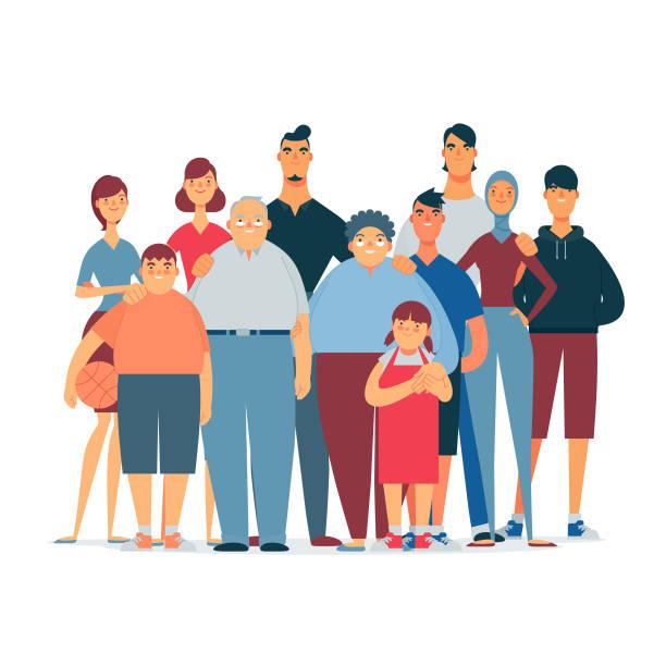 flat & modern asian family A modern asian family group illustration happy family stock illustrations