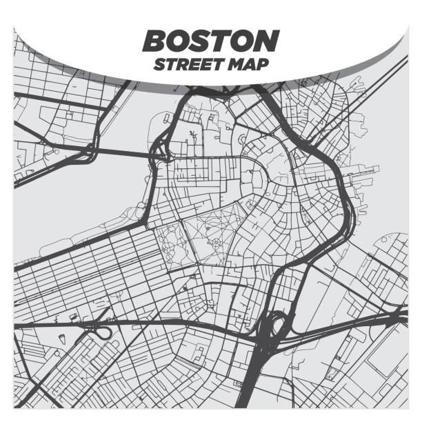 Flat Modern City Street Map Downtown Boston and Surroundings vector art illustration