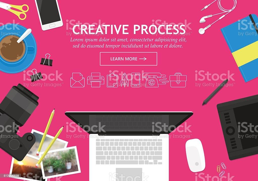 フラットなデザインコンセプトの中で、クリエイティブなプロセスウェブサイトバナー ベクターアートイラスト
