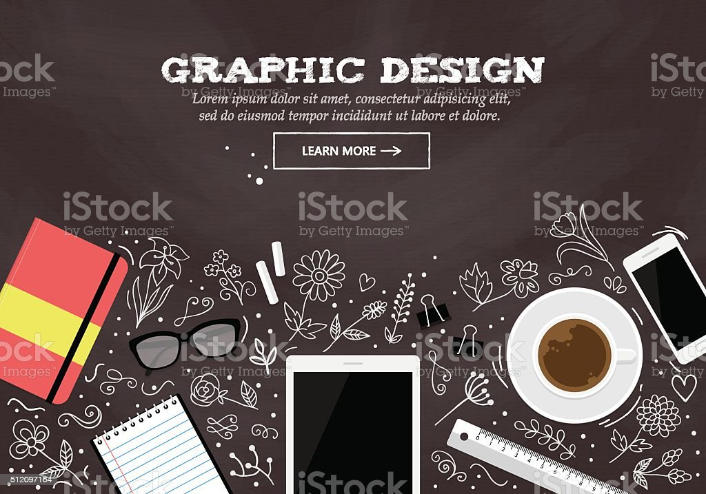 Flache moderne design-Konzept für Grafik-design website-banner – Vektorgrafik