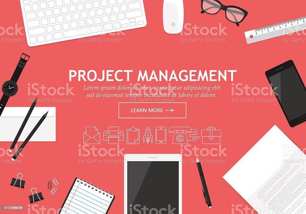 フラットなデザインコンセプトのプロジェクトマネージメントウェブサイトバナー ベクターアートイラスト