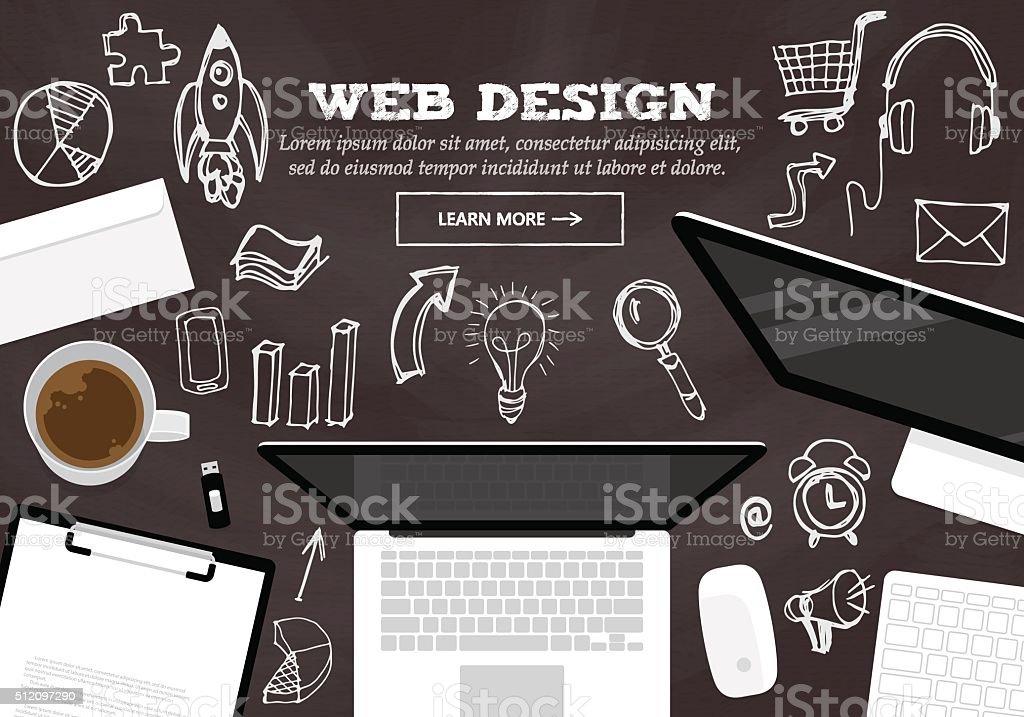 フラットなデザインの概念、web デザインウェブサイトバナー ベクターアートイラスト