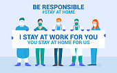 Flat Modern design Illustration of Be Responsible stay at home