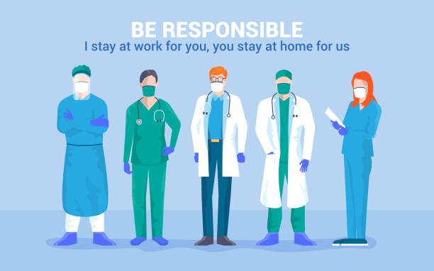 Flat Modern design Illustration of Be Responsible stay at home Stay at home awareness social media campaign and coronavirus prevention. Team of young medical doctor say: I stay at work for you, you stay at home for us. Vector illustration protective workwear stock illustrations
