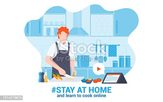 istock Flat Modern design Illustration of Stay at Home 2 1214273875