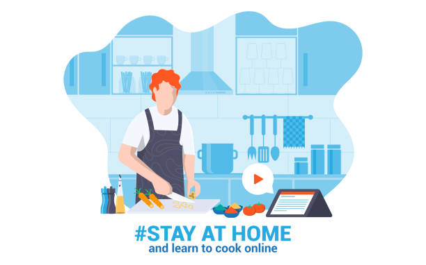 Flat Modern design Illustration of Stay at Home 2 Stay at home awareness social media campaign and coronavirus prevention. Young man learning cook online at home. Vector illustration cooking stock illustrations
