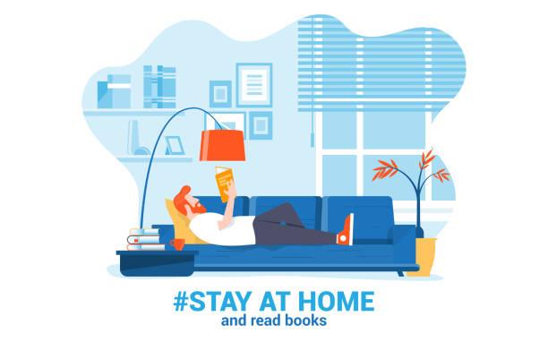 ilustraciones, imágenes clip art, dibujos animados e iconos de stock de flat diseño moderno ilustración de estancia en casa 3 - stay home