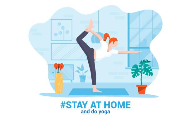ilustraciones, imágenes clip art, dibujos animados e iconos de stock de flat diseño moderno ilustración de estancia en casa 4 - stay home