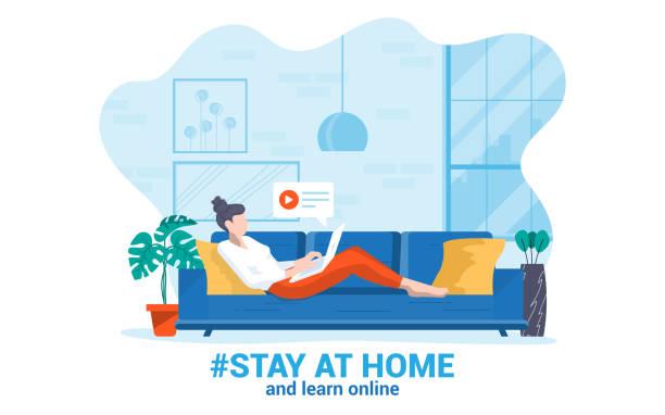 ilustraciones, imágenes clip art, dibujos animados e iconos de stock de flat diseño moderno ilustración de quedarse en casa - stay home