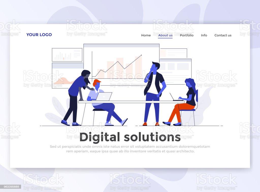 Płaski nowoczesny projekt szablonu strony docelowej - Rozwiązanie cyfrowe - Grafika wektorowa royalty-free (Banner internetowy)