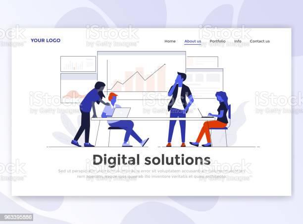 Płaski Nowoczesny Projekt Szablonu Strony Docelowej Rozwiązanie Cyfrowe - Stockowe grafiki wektorowe i więcej obrazów Banner internetowy