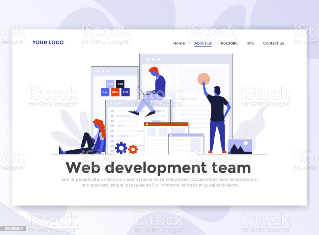 Flat Modern design of Landing page template - Web Development - Grafika wektorowa royalty-free (Abstrakcja)