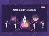 Flat Modern design of website template - Artificial intelligence