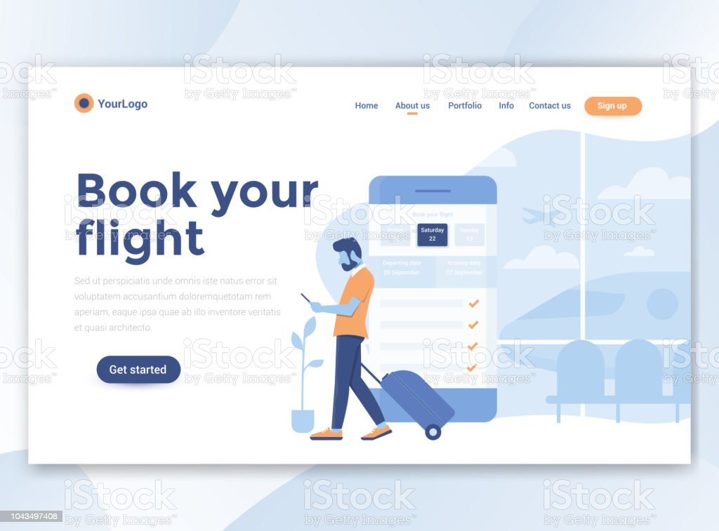 Flat Modern design of website template - Book your flight royalty-free flat modern design of website template book your flight stock illustration - download image now