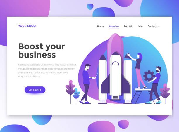 網站範本的平面現代設計-業務 - 新的事業 幅插畫檔、美工圖案、卡通及圖標