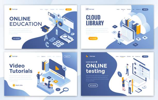 モダンなデザインのホームページ テンプレート - 教育の設定 - 語学の授業点のイラスト素材/クリップアート素材/マンガ素材/アイコン素材