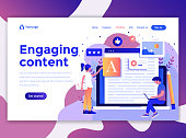 Landing page template of Engaging content. Modern flat design concept of web page design for website and mobile website. Easy to edit and customize. Vector illustration