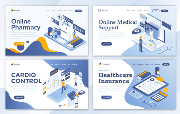 ilustraciones, imágenes clip art, dibujos animados e iconos de stock de piso moderno diseño de la plantilla de sitio web - medical set - infografías de medicina